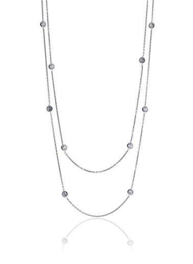 Söğütlü Silver Gümüş Rodyumlu Zirkon Taşlı Tifany Koly Gümüş